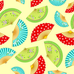 pattern with the varied Japanese fans