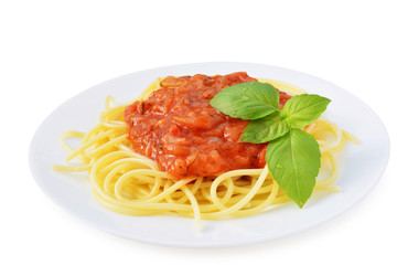 Tomato sauce with spaghetti on white