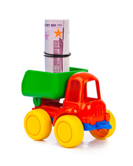 Toy truck with money