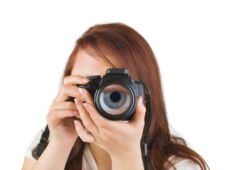 Woman with camera and eye in lens