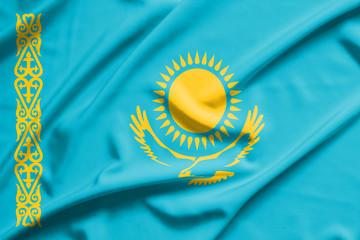 Kazakhstan flag on soft and smooth silk