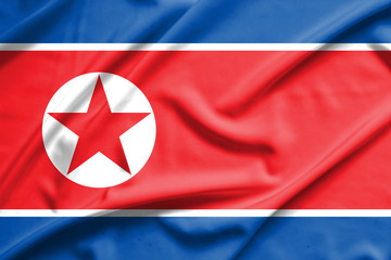 North Korea flag on soft and smooth silk