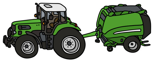 Green tractor with a hay binder / hand drawing, not a real type