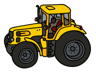 Yellow tractor / hand drawing, not a real type