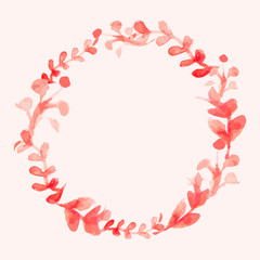 Watercolor flowers wreath. Hand painted wedding illustration. Ve