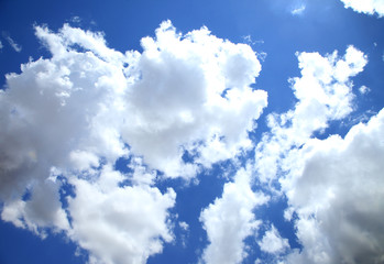 White clouds in blue sky background