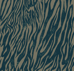 Seamless vintage style pattern with zebra or tiger print. Hand