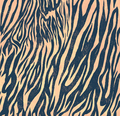Seamless vintage style pattern with zebra print. Hand drawn