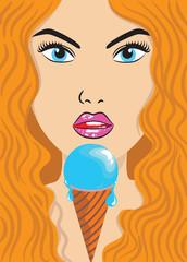 saxy lady and ice-cream