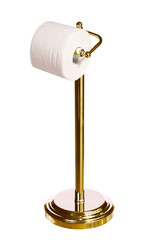 gold toilet paper holder standing isolated on white background