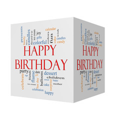Happy Birthday 3D cube Word Cloud Concept