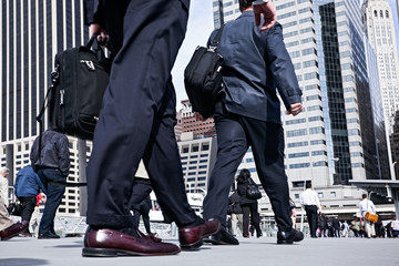 business people walking on the street