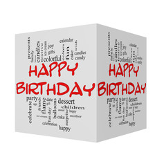 Happy Birthday 3D cube red caps Word Cloud Concept