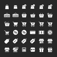 Simple shopping icon set vector, white color