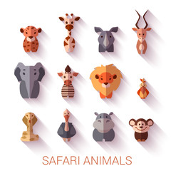 Set of Safari animals. Flat style. Vector illustration