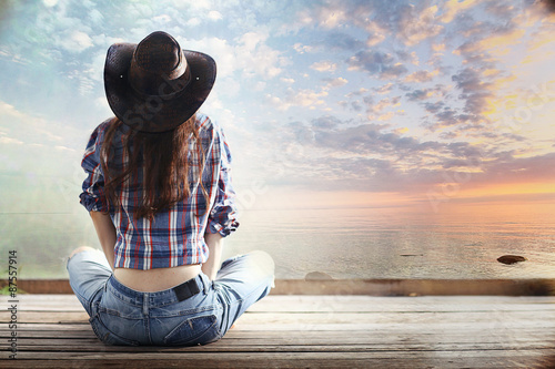 America is a country girl background sky lake hat