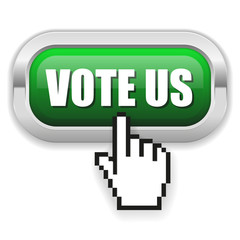 Green vote us button with metal border and hand cursor