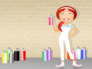 girl with spray cans