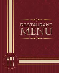 Restaurant menu design cover template in retro style 02