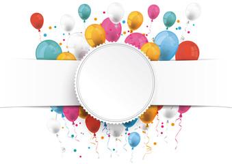 White Paper Banner Emblem Balloons