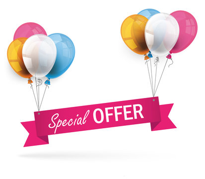 Colored Balloons Ribbon Special Offer
