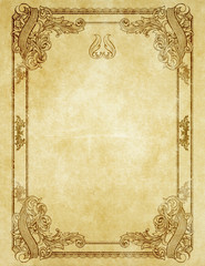 Grunge paper with antique frame.