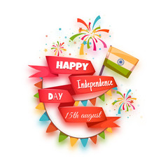 Happy independence day banner. India. Red ribbon with title