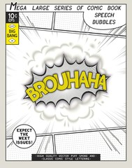 Brouhaha. Explosion in comic style with lettering and realistic puffs smoke. 3D vector pop art speech bubble