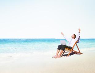 Holidays Businessman Beach Relax Internet Concept