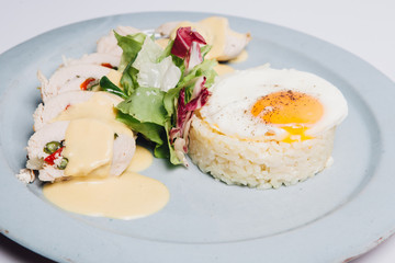 rice with eggs and chicken