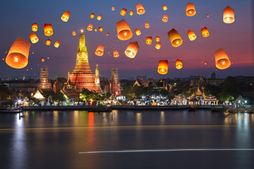 Wat arun under loy krathong day ,Thailand