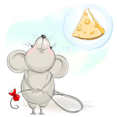 Happy cartoon mouse with cheese
