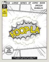 Hoop-la. Explosion in comic style with lettering and realistic puffs smoke. 3D vector pop art speech bubble