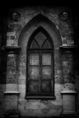 Window in the wall of  Gothic churc
