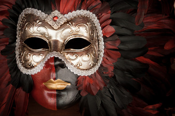 Venetian masks. Close detail of a traditional mask as worn at the famous Carnival in Venice, Italy.
