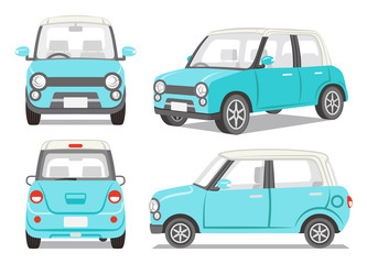 Light blue car four angle set