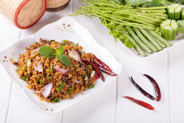 Spicy minced grilled catfish salad , Thai food