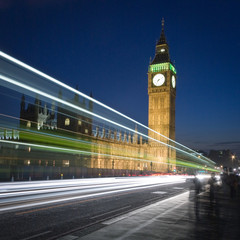 Big Ben, London. Long exposure, night views of the iconic London landmark, Big Ben.
