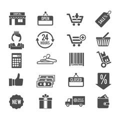 Vector shopping shape icons set.