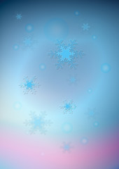 Blue snowflakes and transparent balls on blueand pink gradient background