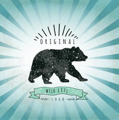 Vintage label bear. Design for T-Shirt. handmad illustration vec