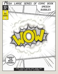 Wow. Explosion in comic style with lettering and realistic puffs smoke. 3D vector pop art speech bubble