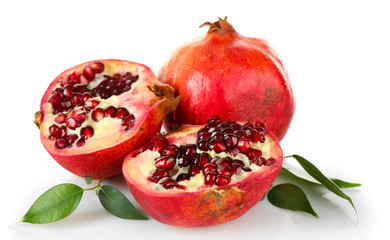 Pomegranate seeds isolated on white