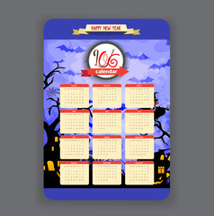 halloween blue background Calendar 2016 year design