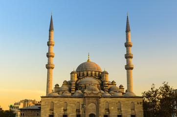 The New Mosque (Yeni) at sunset, twilight, Istanbul, Turkey