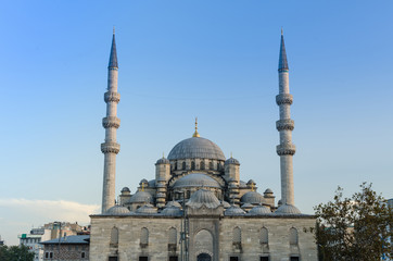 The New Mosque (Yeni) at sunset, twilight, Istanbul, Turkey