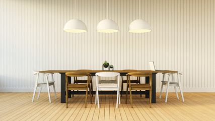 Working and Dining set with simple wall / 3D render image
