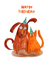 Dog and cat in party hat. Happy birthday. Watercolor