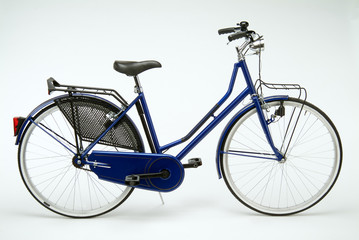 Typical Dutch bike for woman on white background