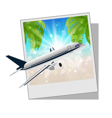 Photo frame with seaside and plane